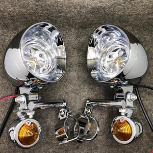 Image 2 - Luz de seta universal para motocicleta, cromada, luz auxiliar, drive, indicador de passagem, com suporte para garfo, de montagem