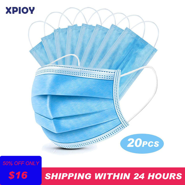 XPIOY 20Pcs/Pack Disposable face mask 3-Layer Non-woven Elastic Mouth Masks Soft Breathable Flu Hygiene Face Mask as KN95 KF94