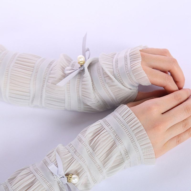 Women Women Girls Ice Silk Pleated Ruched Half Finger Long Gloves Tiered Lace Sweet Solid Candy Color Bowknot Decor Arm Sleeves