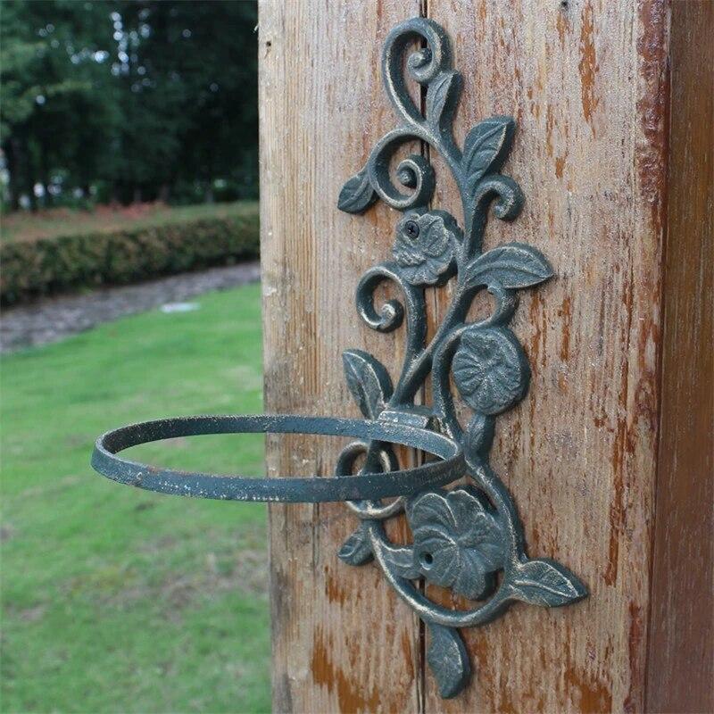 2pieces cast iron flower pot holder dark green plant basket planter tray flower shape pot rack wall mounted garden porch metal