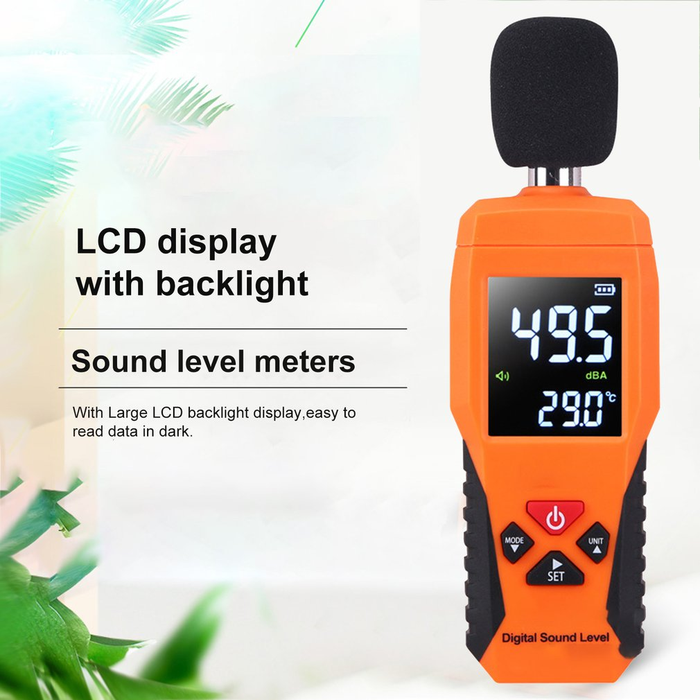 Digital Sound Level DB Meters 30dB~130dB Decibe Noise Logger Detector Diagnostic Tool Temperature Tester With Backlight