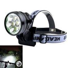 цена на  7 x XM-L2 T6 LED Front Head Headlight Bicycle Light Torch 3 Modes 5000lm + 1 x 8.4V Rechargeable 6000mAh 18650 Battery Pack