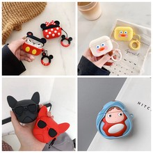 For AirPods Pro Case 3D Cute Bulldog Duck Kawaii Earphone Cover For AirPods Pro 3 Soft Protect Case with Keychain Ring Strap(China)
