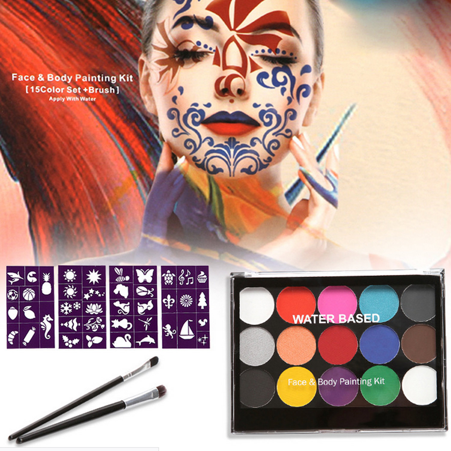 15 Color Face Painting Body Makeup Paint With 2 Painting Brush 4 Sheet Design Stencils For Cosplay Party Makeup Safe Water Paint