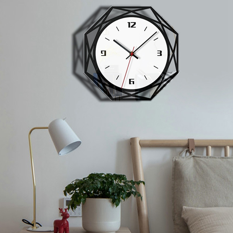 Silent Large Acrylic Wall Clock 3D Digital Modern Design Black Quartz Hanging Watch With Wall Stickers For Kitchen