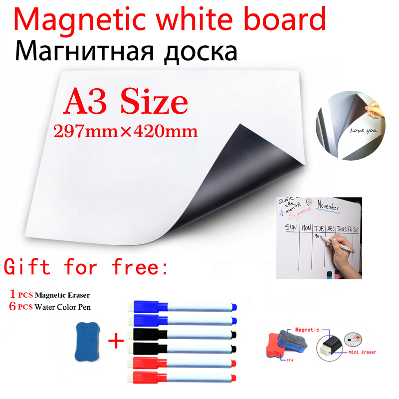 A3 Size Magnetic WhiteBoard Wall Fridge Stickers Dry Erase White Board Home Office Message Board Bulletin Board Stationery