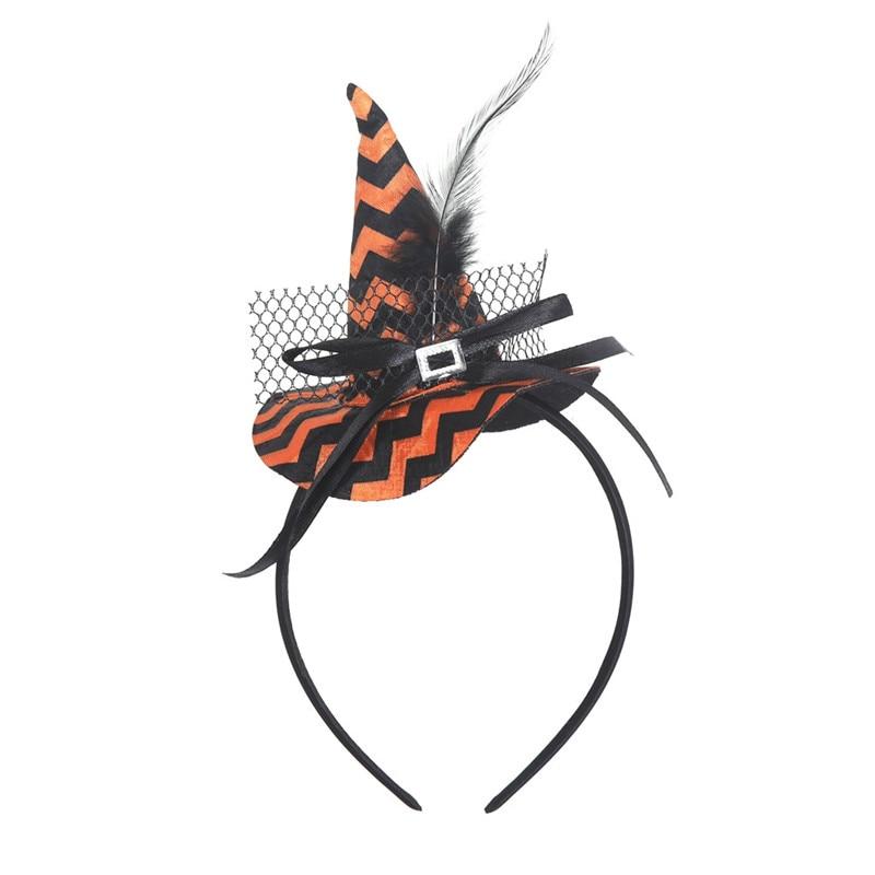 New Mini Witch Hat Headband Halloween Headbands For girls Fancy Dress Props Cosplay Party Gifts Headwear Kids 30Jul3105