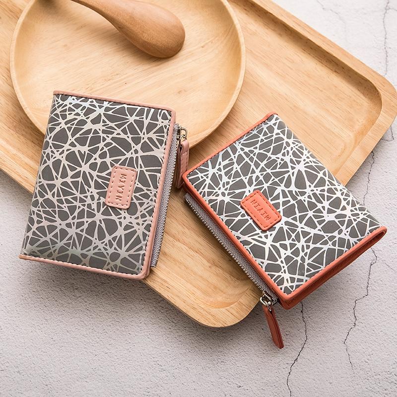 2020 New women's wallet small print fold wallet zipper short ladies money bag functional card holder coin purse carteira feminin