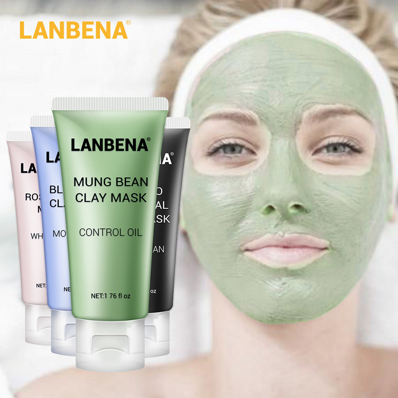 LANBENA Mung Bean Clay Face Mask+Bamboo Charcoal+Blueberry+Rose Deep Cleaning Remove Grease Shrinks Pores Nourishing Skin Care