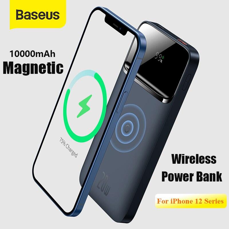 Baseus Power Bank 10000 мАч PD 20 Вт магнитное Беспроводное зарядное устройство Внешний аккумулятор портативное зарядное устройство для iPhone 12 серии