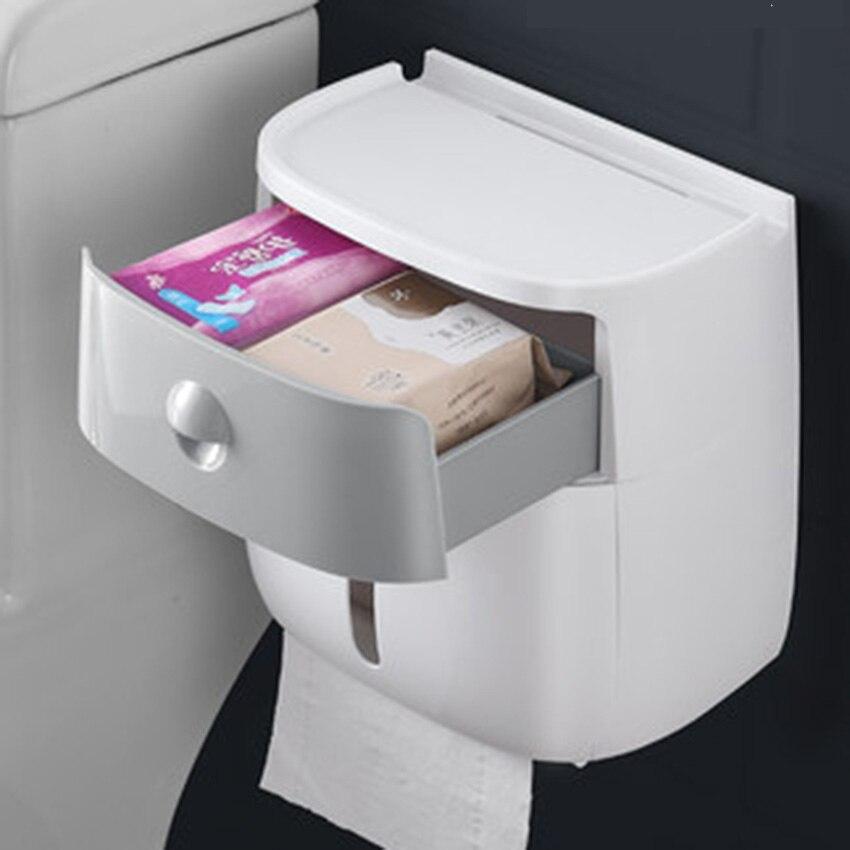 กล่องกระดาษทิชชูผู้ถือพลาสติกคู่เนื้อเยื่อติดผนังชั้นวางกล่องห้องน้ำ Dispenser อุปกรณ์เสริม