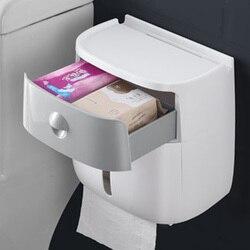 Pudełko na papier toaletowy uchwyt na papier toaletowy podwójny plastikowy pojemnik na bibułkę półka naścienna schowek akcesoria do dozowników toalet