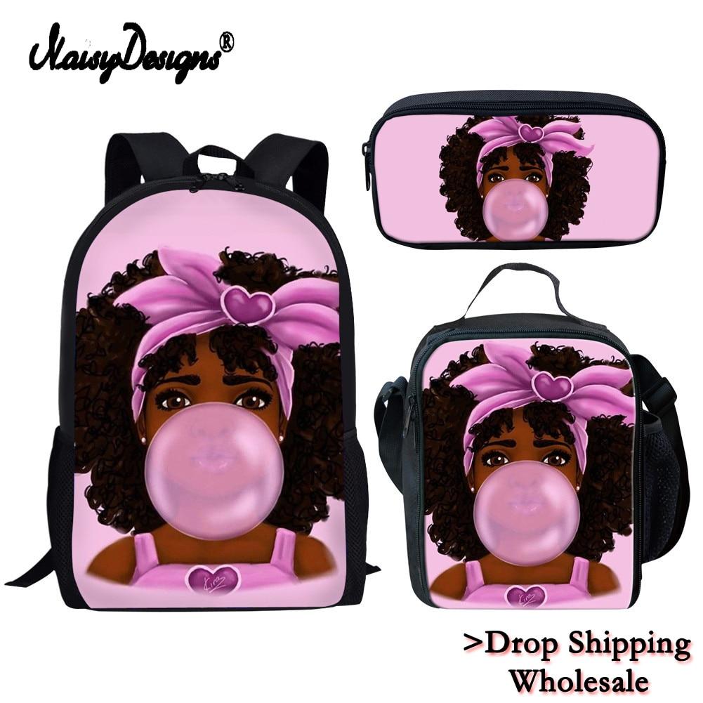 Dropshipping Children School Bags For Kids Black Girl Magic Afro Lady Printing School Bag Teenagers Shoulder Book Bag Mochila
