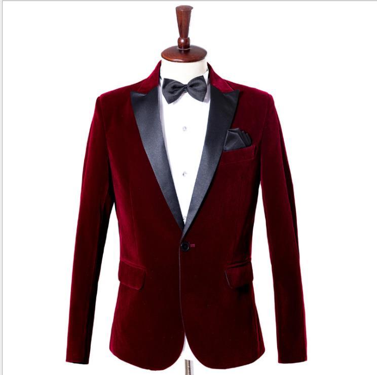 Men's Wear Velvet Alcohol Red Leisure Time Suit Loose Coat Real Wedding Groom Singer Real Repair