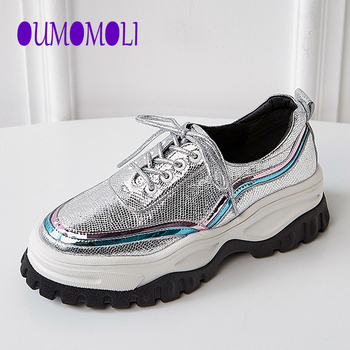 2020 Fashion new Silver Dad Shoes pu Leather Round Toe Lace-up low Top Casual Shoes Woman Lady Shoes Q278