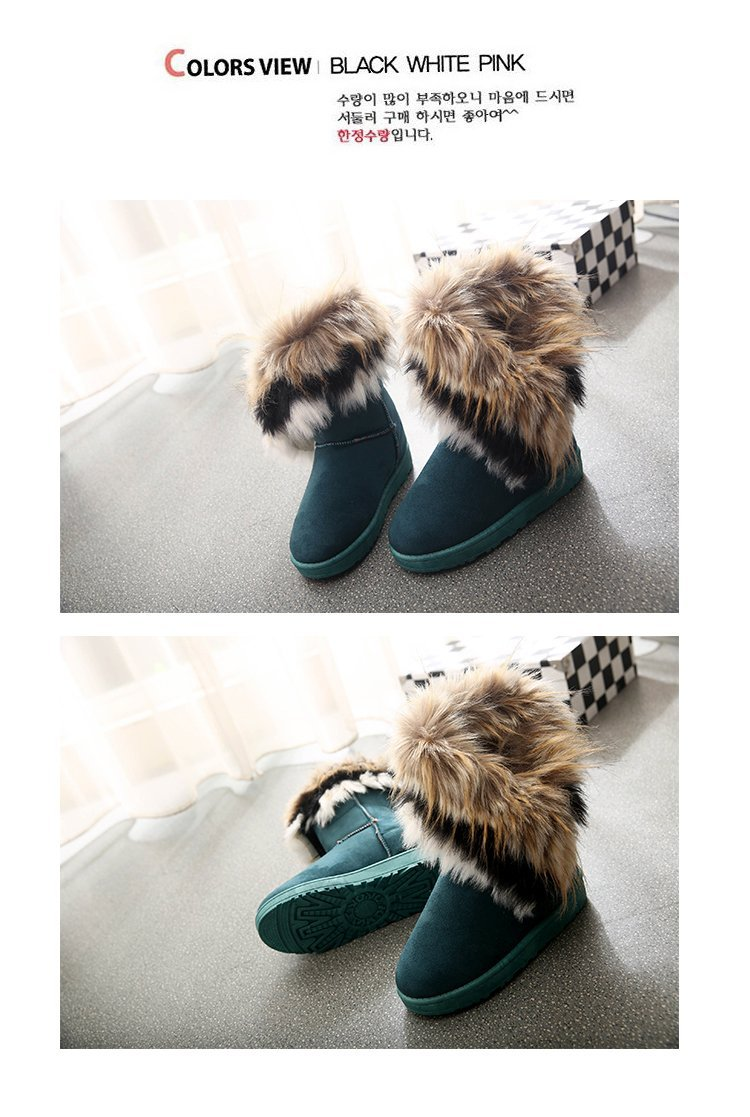 Women Fur Boots Ladies Winter Warm Ankle Boots For Women Snow Shoes Style Round-toe Slip On Female Flock Snow Boot Ladies Shoes 25