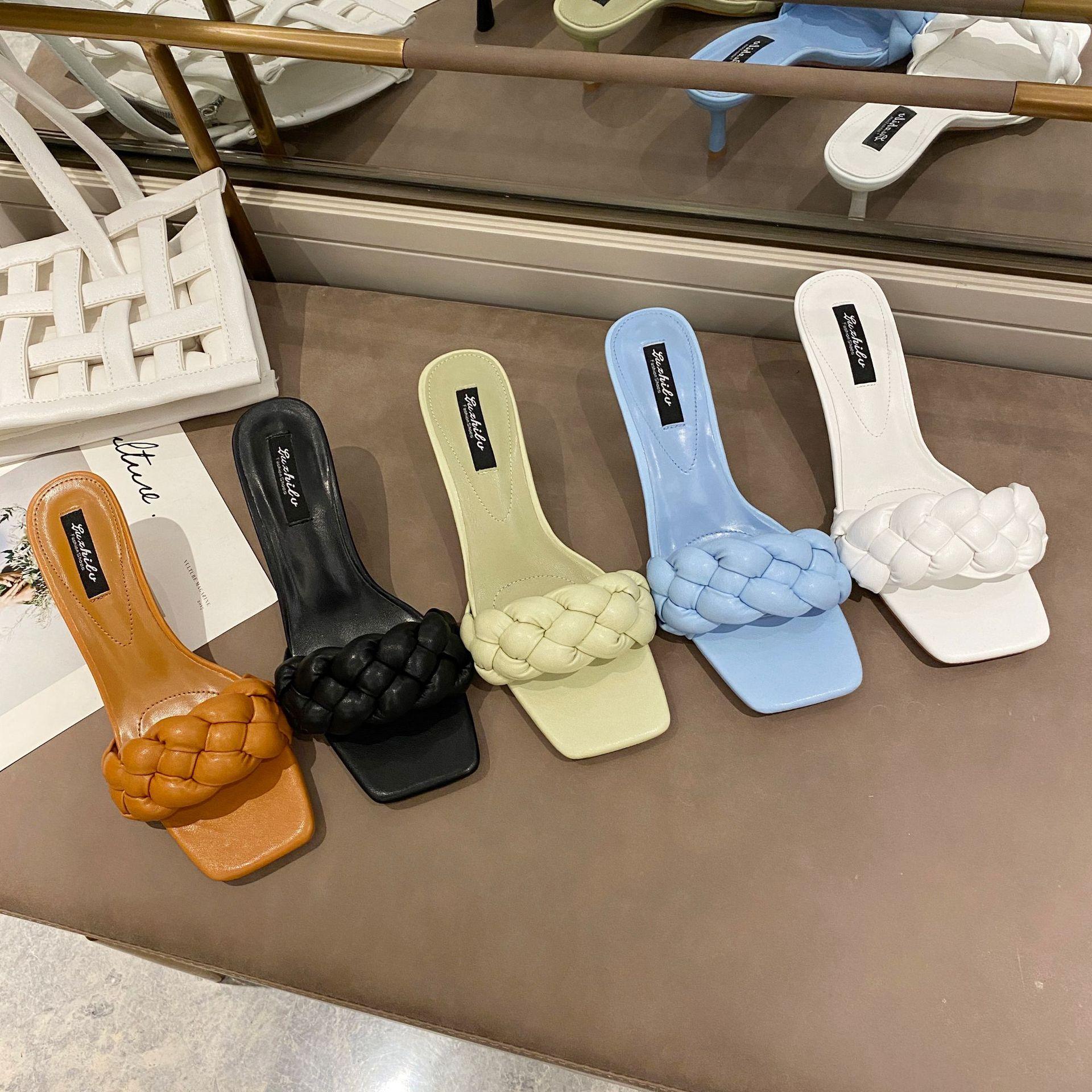 Korean Designer Slippers Women Square Toe Weave Leather High Heel Sandals Peep Toe Outdoor Ladies Slides Zapatos De Mujer LU53