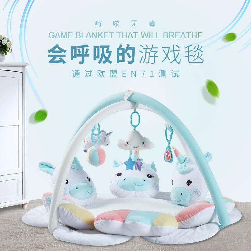 <3 years 3D Breathe Cartoon unicorn baby playmat gym kids rug crawling mat kids carpet toys for toddler boys children plush doll