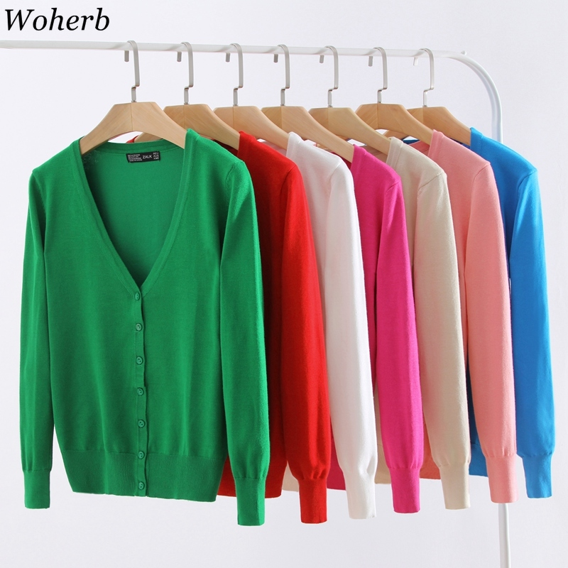 Woherb Plus Size M-4XL Cardigan Women 21 Colors Solid Knitted Sweaters 2020 Autumn Thin Cardigans Jacket Korean Knitwear Coat