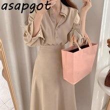 Normcore minimalista solapa temperamento Single-breasted Slim de cintura alta falsa de dos piezas camisas de vestido de las mujeres coreano Chic Vestidos