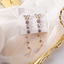 Korean Shiny Crystal Rhinestone Purple Butterfly Earrings Gold Color Metal Insect Long Tassel Earrings for Women Ladies Jewelry недорого