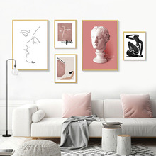 Scandinavian Vintage Canvas Poster Nordic Wall Art Print Abstract Painting Decorative Picture Modern Living Room Decoration vintage abstract print jeggings