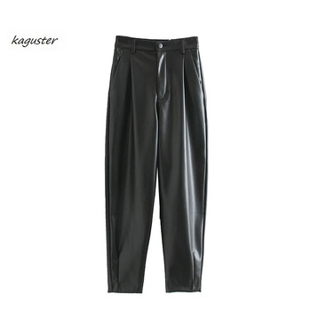2020 fashion high waist black pants woman Autumn Zipper Fly Pockets Solid PU Faux Leather Loose Casual Straight kaguster winter zipper fly straight leg pockets cargo pants