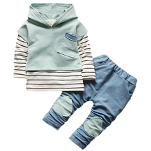 3 Pcs/Sets baby clothes Toddler Boys Girls Clothing Autumn Long Sleeve Striped Hoodie Tops + Denim Pants Sets Sui #E