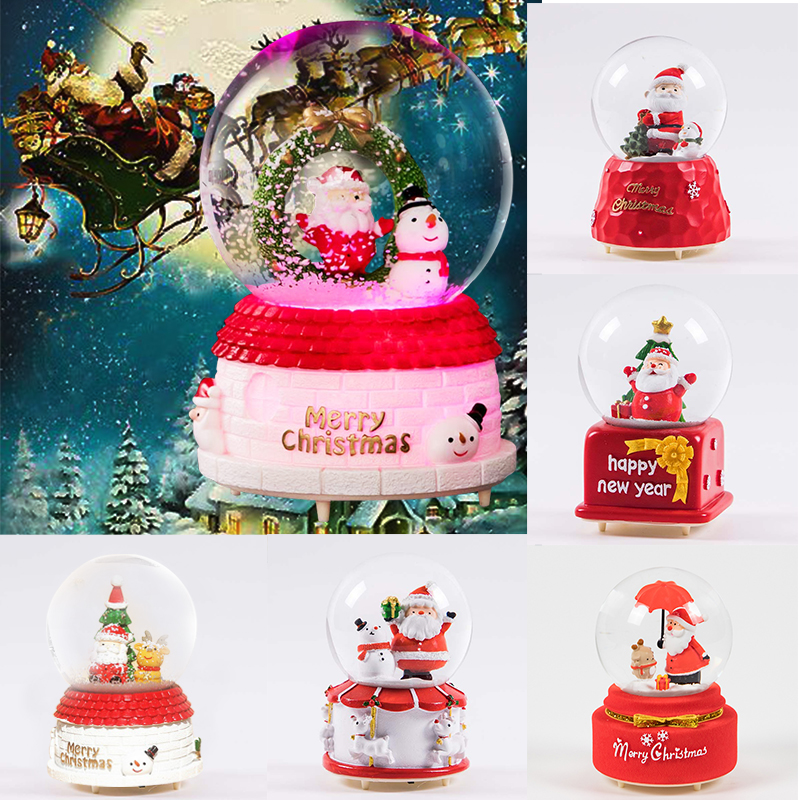 Christmas Crystal Ball Music Box Floating Snow with Led Lights Snow Colorful Globe Music Box Birthday Christmas Gifts For Girl in Music Boxes from Home Garden