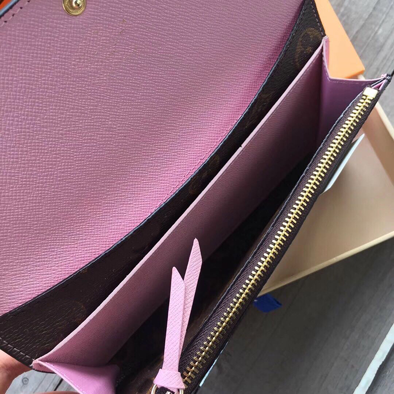 High quality 100% genuine leather women's wallet with gift box designer printed flower wallet and dust bag