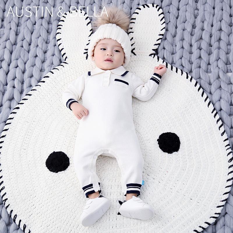 Chłopcy z dzianiny Romper noworodka bawełniane kombinezony hiszpański dzieci kombinezon z długim rękawem moda maluch ubrania dla dzieci stroje