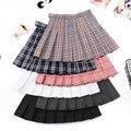 Super-hot SchoolSkirt Plaid pleated skirt female spring summer high waist short skirt fall college wind yellow A-character skirt
