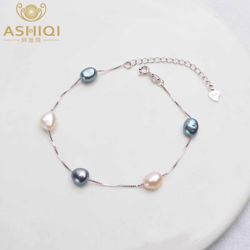 Ashiqi Echt 925 Sterling Zilver Natuurlijke Barokke Parel Armband Mode 6-7Mm Zoetwater Parel Sieraden Voor Vrouwen