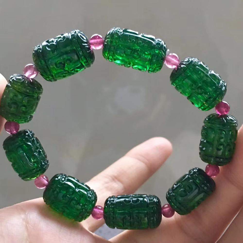 Natural Green Tourmaline Quartz Clear Carved Barrel Beads Bracelet Brazil Women Men Crystal Certificate AAAAAA