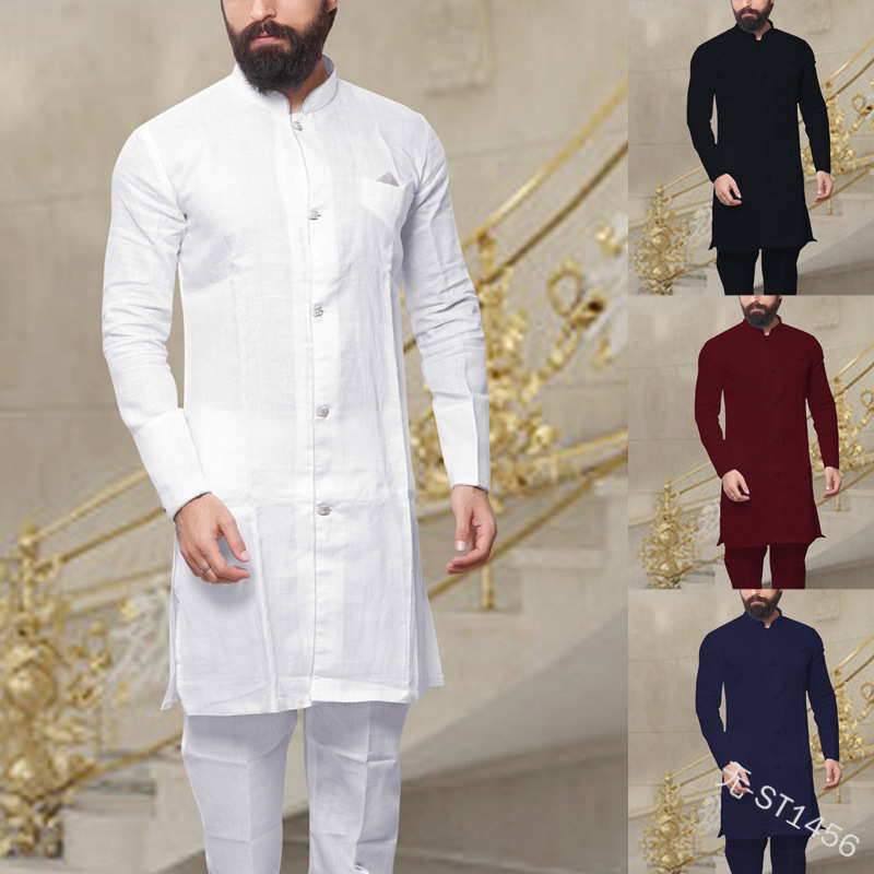 WEPBEL Muslim Fashion Men's Kaftan Robes Vintage Long Sleeve Linen Button Shirt Islamic Abaya Clothing for Men Plus Size S~5XL