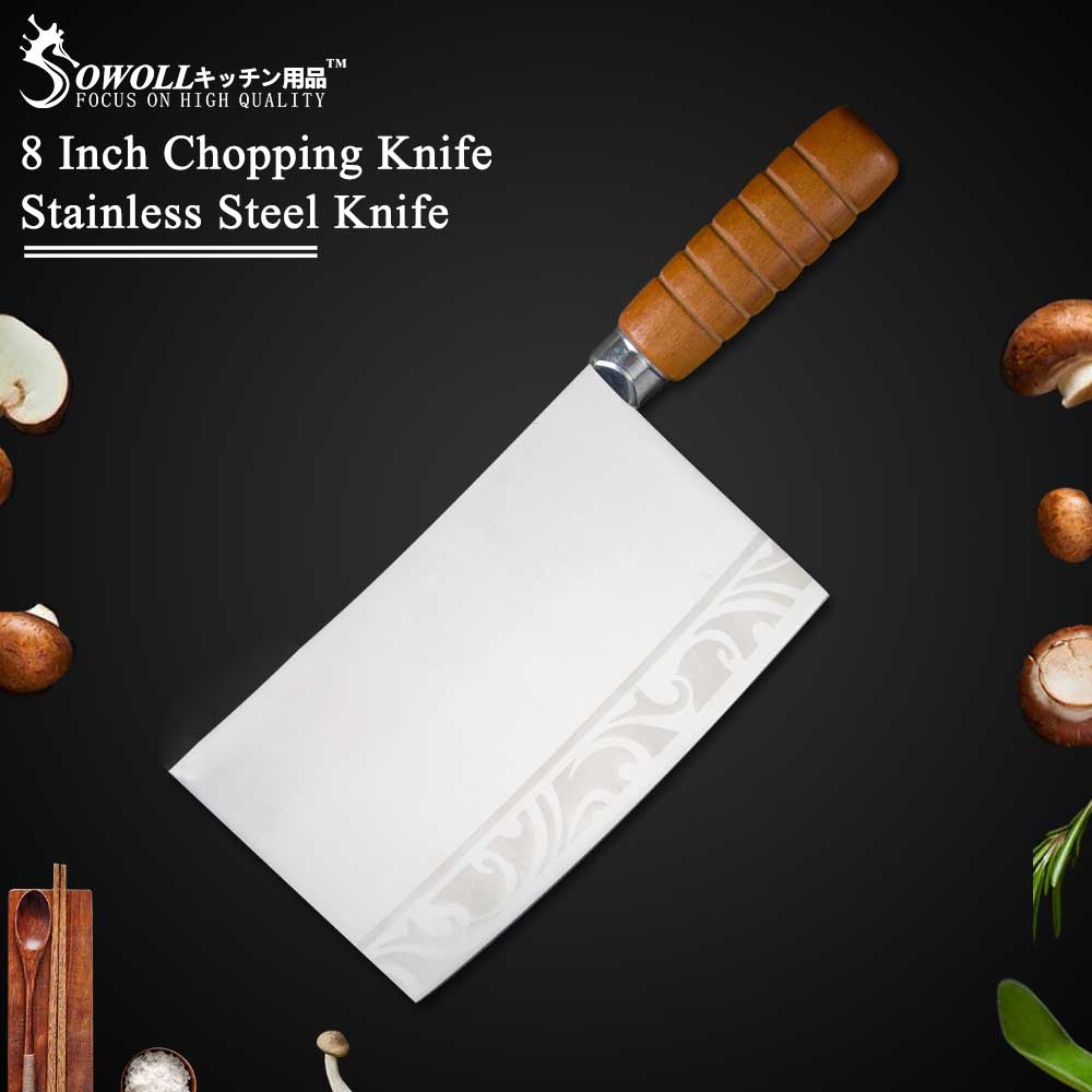 Sowoll Brand 4Cr13 Stainless Steel 8 Inch Chopping Knife High Quality Color Wood Handle Cleaver Chopping Knife for Bone Meat|Kitchen Knives| |  - title=