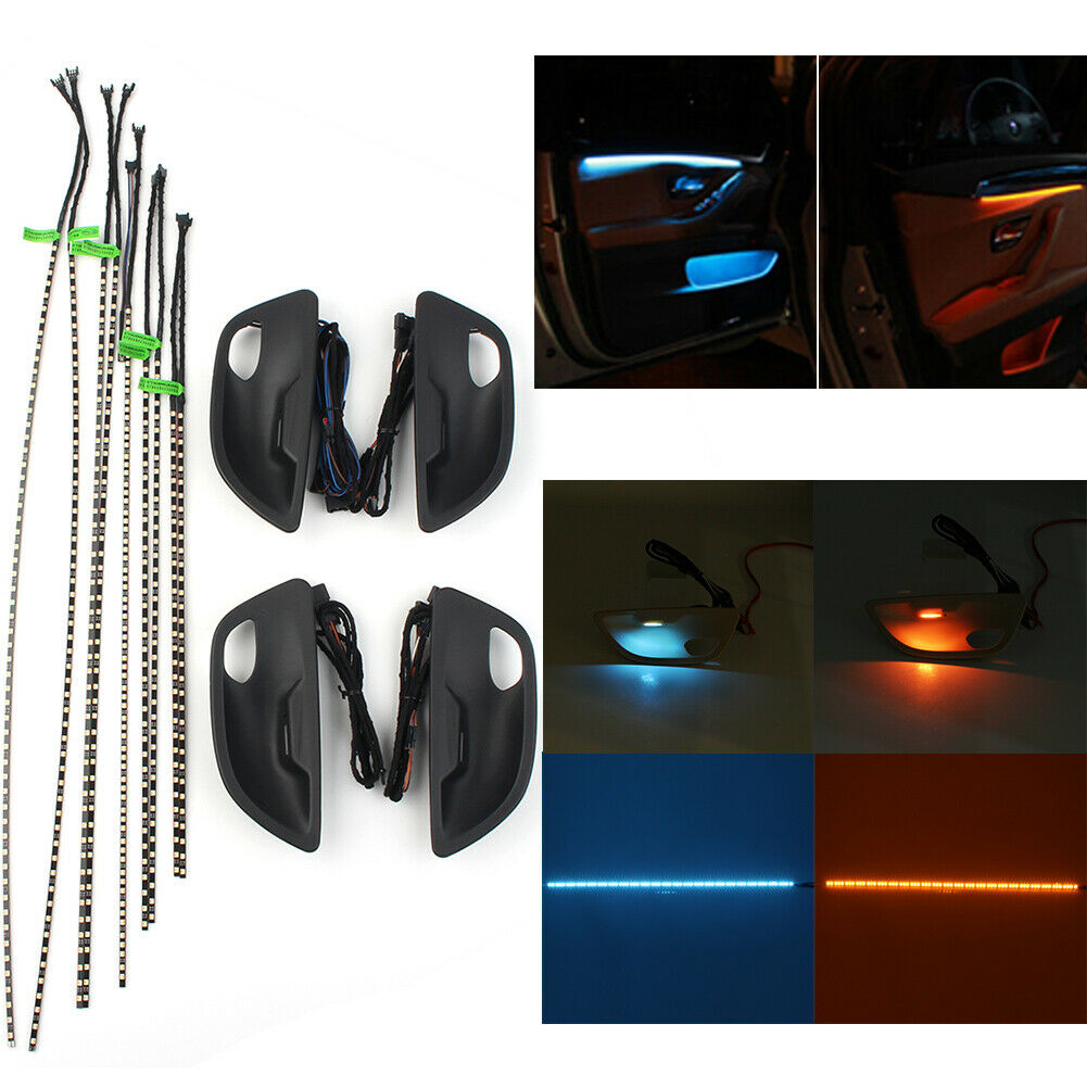 Suitable for BMW 5 Series F10/F11 blue and amber dual-color interior LED ambient light striped ambient light
