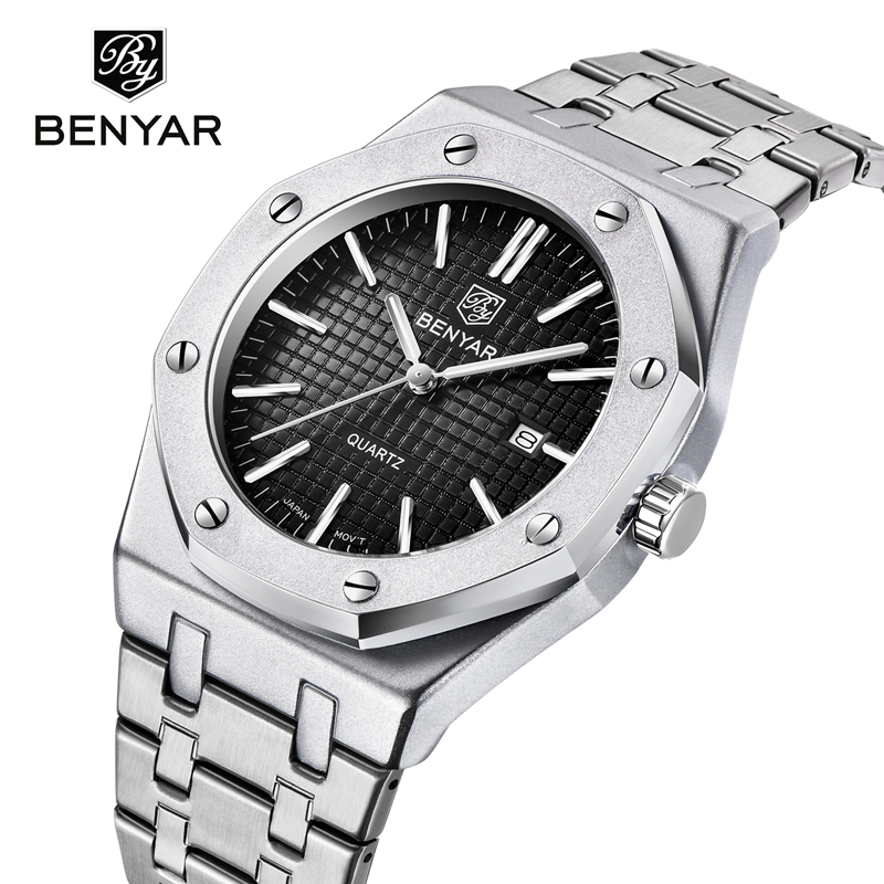 BENYAR Top Luxury Brand Men Watch Quartz Male Clock Design Sport Watch Waterproof Stainless Steel Wristwatch Reloj Hombre 2019
