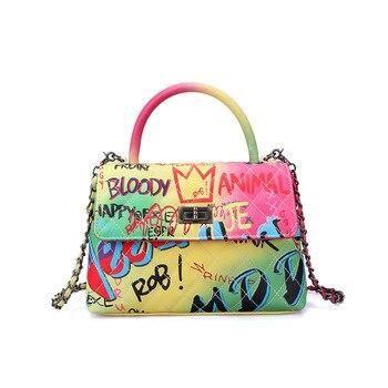 2020 New Colorful Handbags Elegant Graffiti Ladies Fashion Crossbody Bag Female Fully Combined Chain Tote