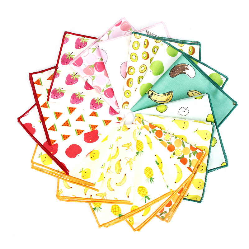 Kids Handkerchief Scarves Vintage Cotton Hankies Men's Pocket Square Children Banana Orange Pear Fruits Print Handkerchiefs