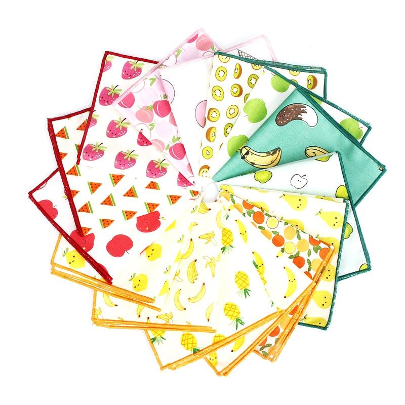 Kids Handkerchief Scarves Vintage Cotton Hankies Men's Pocket Square Children Banana Orange Pear Fruits Print Handkerchiefs