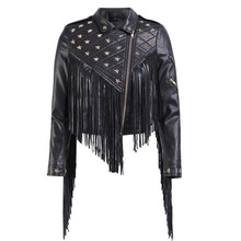 Coats Jacket Fringed Nail-Star Biker-Leather Short Fold-Down-Collar Punk Female Women