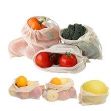 Зеленый супермаркет шоппинг хлопчатобумажная сетка мешок струны рот мешок фруктов и овощей