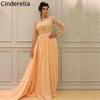 Peach Color One Shoulder A Line Lace Applique Crystal Chiffon Prom Dresses Floor Length Party Gowns vestidos de fiesta de noche