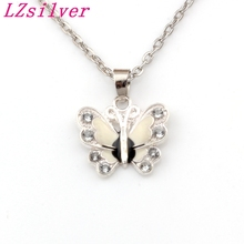 White Rhinestone Enamel Butterfly Alloy Charms Pendants Necklaces Jewelry DIY 23.6 inches Chains 10pcs/lots A-510d