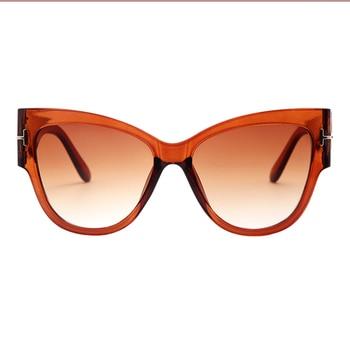 2019 New Fashion Brand Designer Tom Cat Eye Sunglasses Women Oversized Frame Vintage Sun Glasses oculos de sol UV400 - C3