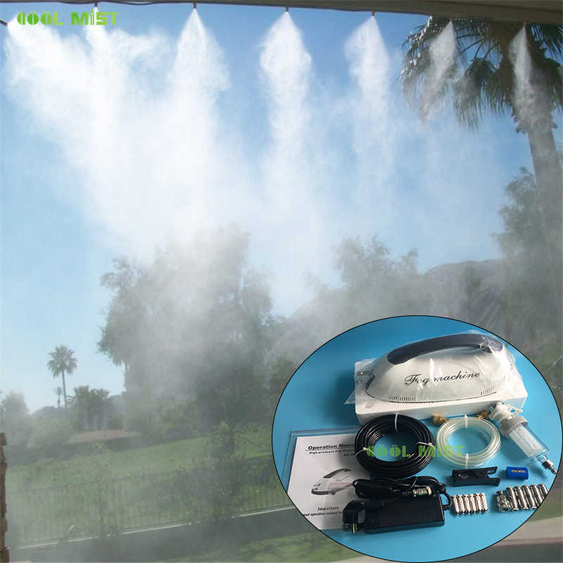 S354 Droog Fog Patio Vernevelaars Set 0.2L Mini Draagbare Fog Machine En 6 Stuks Mist Nozzles 10M 1/4 nylon Slang Water Sproeiers