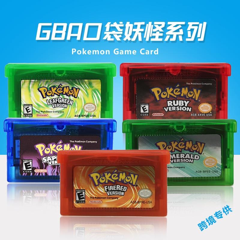 Pokemon Series NDSL GB GBC GBM GBA SP Video Game Hộp Mực Tay Cầm Thẻ Trò Chơi Cổ Điển Thu Thập Nhiều Màu Sắc Phiên Bản Ngôn Ngữ Tiếng Anh