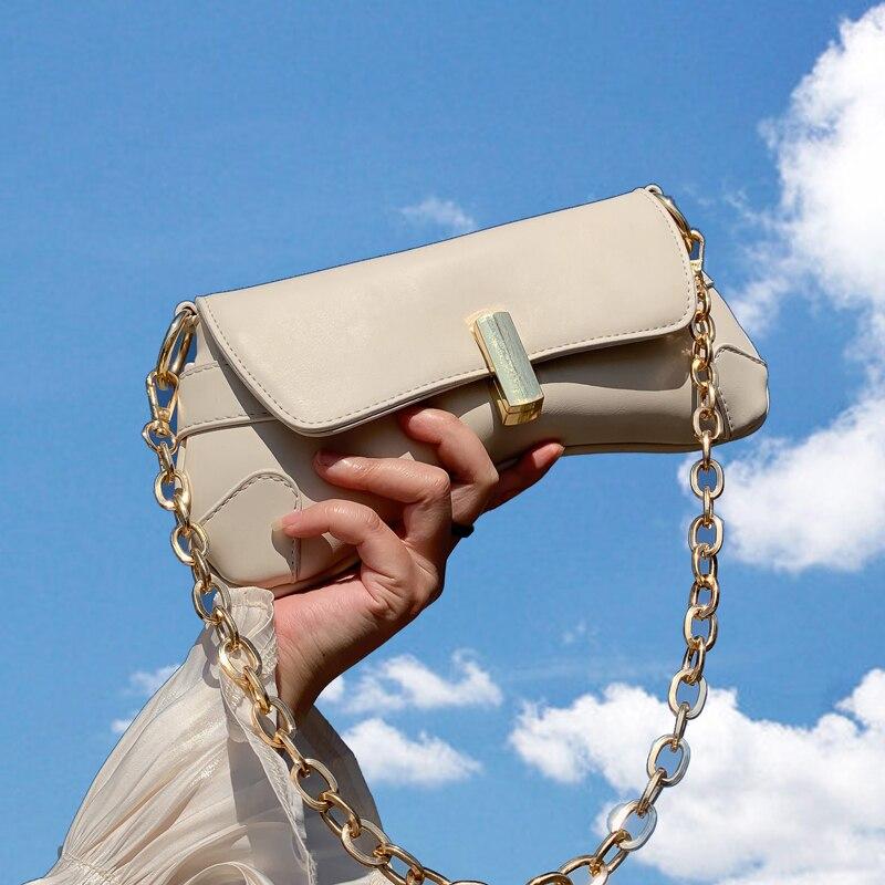 Elegant Female Chain Tote Bag 2020 Fashion New High-quality PU Leather Women's Designer Handbag Lock Shoulder Messenger Bag