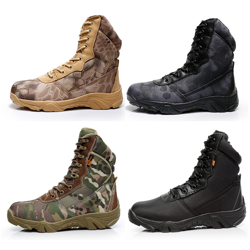 Cross Border Supply Of Goods Camouflage Tactical Boots Army Fans Hight-top Desert Boots Men's Special Forces Combat Boots Python